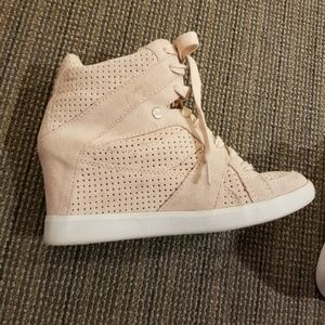 COACH Light Pink Suede Sneaker Wedges